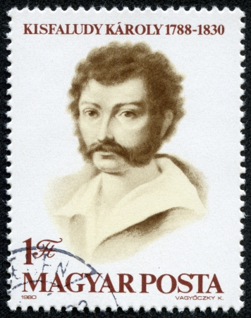 dramatist: HUNGARY - CIRCA 1980  A stamp printed in Hungary shows portrait of poet and dramatist Karoly Kisfaludy, 1788 - 1830, with the same inscription, from the series  Karoly Kisfaludy , circa 1980