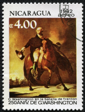 franked: NICARAGUA - CIRCA 1982  A stamp printed in Nicaragua celebrates the 250th anniversary of George Washington , circa 1982 Editorial