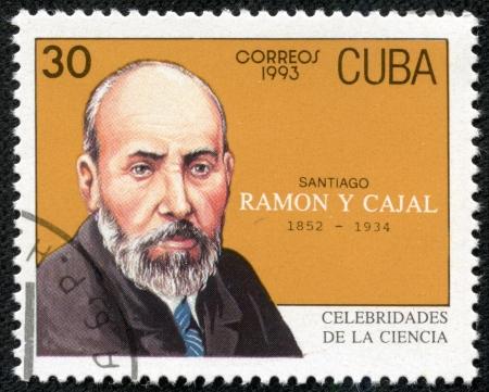 CUBA - CIRCA 1993  a postage stamp printed in Cuba showing an image of Santiago Ramon y Cajal, circa 1993  Stock Photo - 17297936