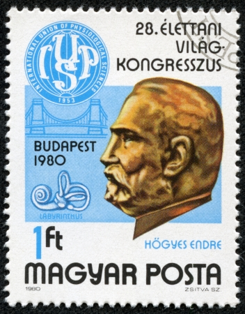 HUNGARY - CIRCA 1980  A stamp printed in Hungary, is devoted to 28th International Congress of Physiological Sciences, shows Dr  Endre Hogyes  1847-1906  and Congress Emblem, circa 1980 Stock Photo - 17297943