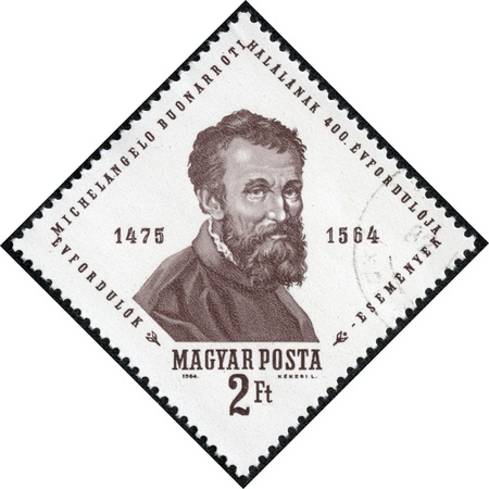 HUNGARY - CIRCA 1964  A stamp printed by Hungary shows Michelangelo, Michelangelo s 400th death anniversary, circa 1964 Stock Photo - 17297949