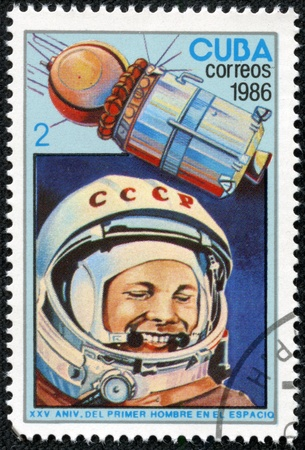 vostok: CUBA - CIRCA 1986  A stamp printed in Cuba, dedicated to the 25th anniversary of manned flight into space, the first cosmonaut Yuri Gagarin and the spaceship Vostok 1, circa 1986