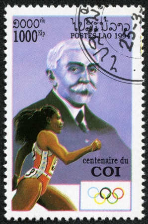 LAOS-CIRCA 1994  A stamp printed in the Laos, depicts Baron de Coubertin, Olympic runner, circa 1994 Stock Photo - 17297954