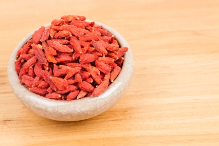 superfruit: dried wolfberry fruit in bowl