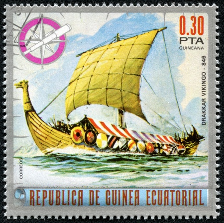 EQUATORIAL GUINEA - CIRCA 1974  Mail stamp printed in Equatorial Guinea ship, circa 1974
