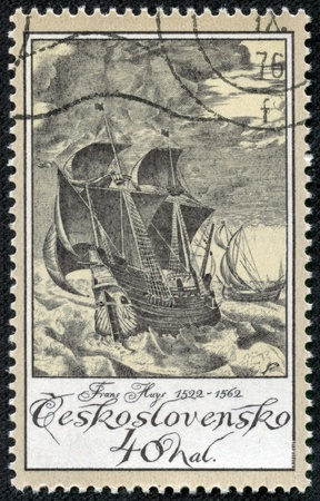 CZECHOSLOVAKIA - CIRCA 1976  A stamp printed in Czechoslovakia shows image of a sailing ship, circa 1976 Stock Photo - 17327115