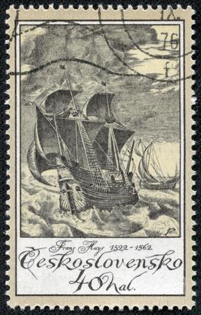 CZECHOSLOVAKIA - CIRCA 1976  A stamp printed in Czechoslovakia shows image of a sailing ship, circa 1976 Stock Photo - 17327115