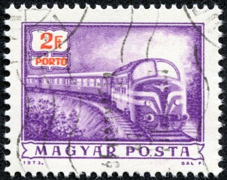 magyar posta: HUNGARY - CIRCA 1973  A stamp printed by Hungary, shows locomotive, circa 1973
