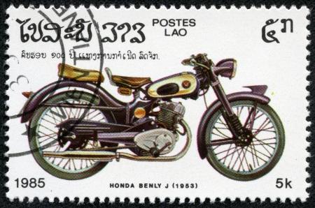 CAMBODIA - CIRCA 1985  A stamp printed Cambodia shows image of a vintage motorcycle, honda benly j 1953, circa 1985