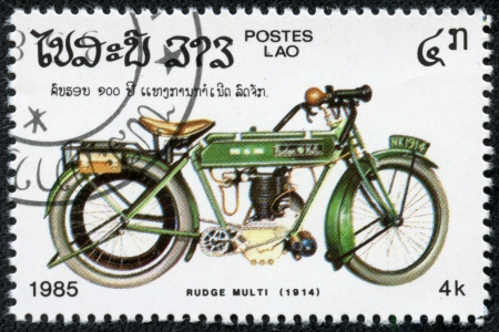 CAMBODIA - CIRCA 1985  A stamp printed Cambodia shows image of a vintage motorcycle, ruge multi 1914, circa 1985
