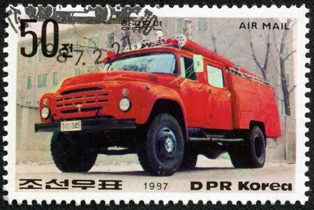 KOREA - CIRCA 1987  stamp printed by Korea, shows firetruck, circa 1987