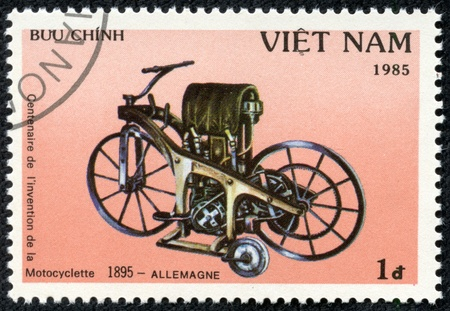 VIET NAM - CIRCA 1985  stamp printed by Viet Nam, shows motorcycle, circa 1985