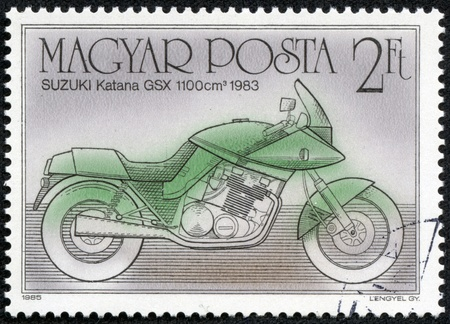 HUNGARY - CIRCA 1985  A Stamp printed in Hungary a shows image of a motorcycle, Suzuki Katana GSX, circa 1985