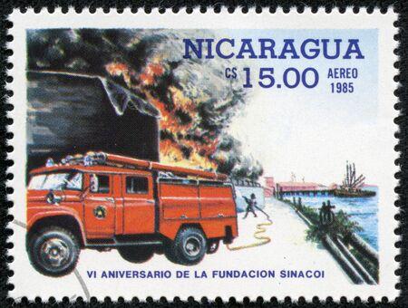 NICARAGUA - CIRCA 1985  stamp printed by Nicaragua, shows firetruck, circa 1985
