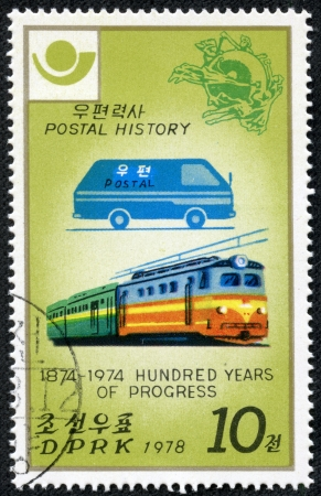 KOREA - CIRCA 1978  A stamp printed in North Korea shows car and train, with inscription and name of series  Postal History  1874-1974 - 100 years of progress , circa 1978