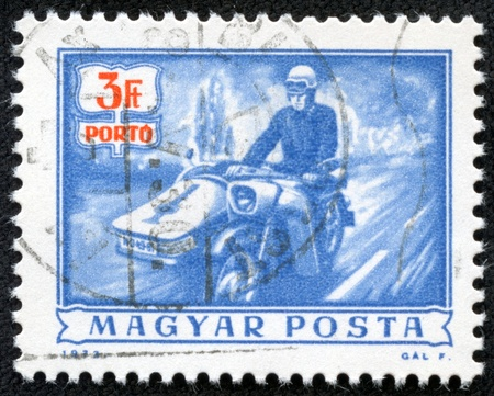 HUNGARY - CIRCA 1972  A stamp printed in Hungary showing vintage motorcycle, circa 1972