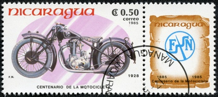 NICARAGUA - CIRCA 1985  A stamp printed in Nicaragua shows image of a vintage motorcycle, F N , circa 1985 Stock Photo - 17356380