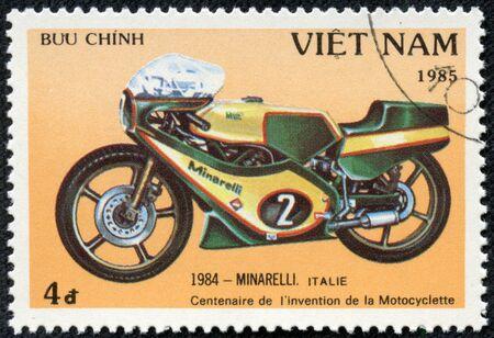 VIETNAM - CIRCA 1985  A stamp printed in Vietnam shows image of a vintage motorcycle, 1984 - Minarelli  Italy , circa 1985 Editöryel
