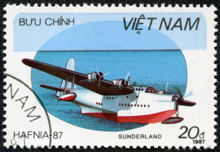VIETNAM - CIRCA 1987  A stamp printed by VIETNAM shows plane, series, circa 1987 Stock Photo - 17356356