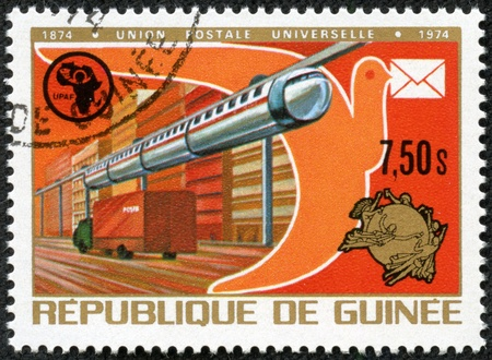 GUINEA - CIRCA 1974  stamp printed by Guinea, shows street in a city, circa 1974  Stock Photo - 17356345