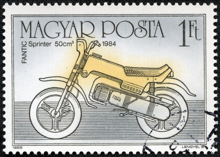 HUNGARY - CIRCA 1985  A stamp printed in Hungary shows Fantic Sprinter 50cm 1984, circa 1985