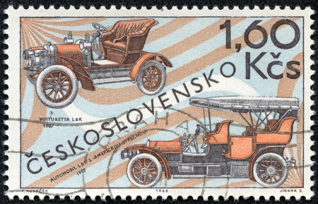 CZECHOSLOVAKIA - CIRCA 1969  A stamp printed in the Czechoslovakia, shows the Laurin and Klement Voiturette, 1907, and L and K touring car with American top, 1907, circa 1969