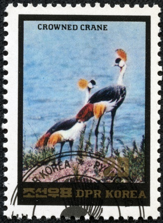 DPR KOREA - CIRCA 1991  A stamp printed in DPR KOREA shows crane, circa 1991