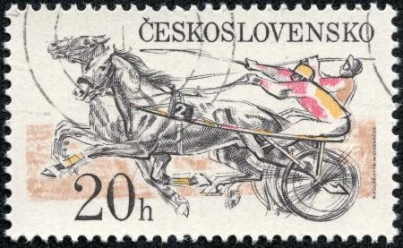 sulky: CZECHOSLOVAKIA - CIRCA 1978  A stamp printed by Czechoslovakia shows Sulky Race   Pardubice Steeplechase, circa 1978 Editorial
