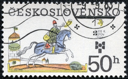 CZECHOSLOVAKIA - CIRCA 1983  The stamp printed in Czechoslovakia shows a rider on a horse, circa 1983 Stock Photo - 17465611