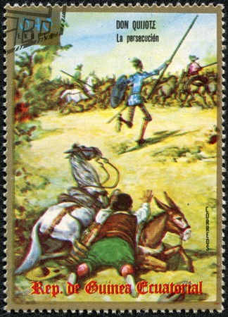 EQUATORIAL GUINEA - CIRCA 1975  A stamp printed in Equatorial Guinea shows Don Quixote, series, circa 1975