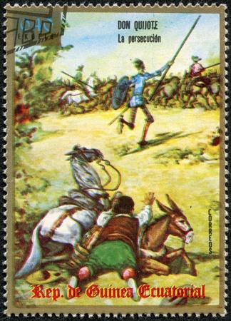 don quijote: GUINEA ECUATORIAL - CIRCA 1975 Un sello impreso en Guinea Ecuatorial muestra a Don Quijote, serie, alrededor de 1975