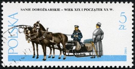 horse sleigh: POLAND - CIRCA 1980  A stamp printed in Poland showing sleigh drawn by horse circa 1980