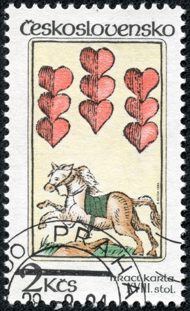CZECHOSLOVAKIA - CIRCA 1984  The stamp printed in Czechoslovakia shows a horse and hearts, circa 1984