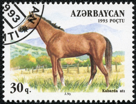 paddock: AZERBAIJAN - CIRCA 1993  A stamp printed in Azerbaijan shows a brown, Kabarda breed horse standing in a pasture, circa 1993  Stock Photo