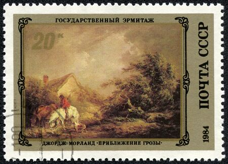approach: USSR - CIRCA 1984  The postal stamp printed in USSR is shown by the George Morland  Thunder-storm approach , CIRCA 1984