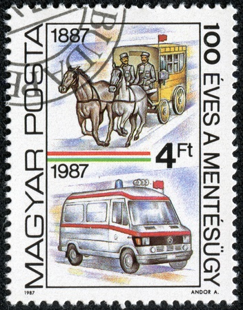 HUNGARY-CIRCA 1987  A post stamp printed in Hungary devoted 100 years of the Hungarian rescue service, circa 1987 Stock Photo - 17472146