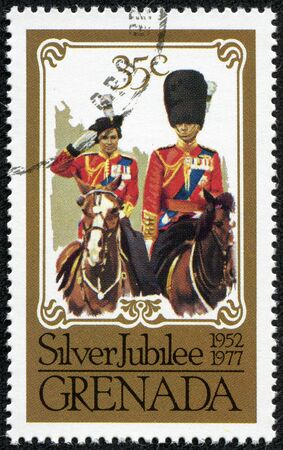 cavalry: GRENADA - CIRCA 1977  A vintage postage stamp printed in Grenada depicting the Queen s Silver Jubilee 1952 to 1977 circa 1977