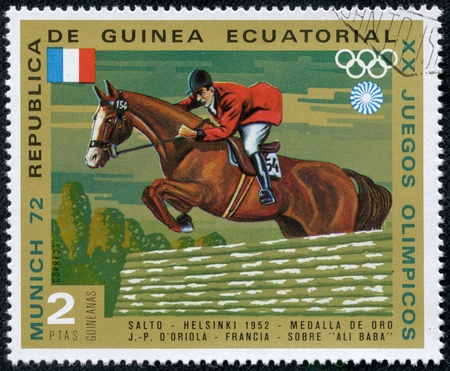 EQUATORIAL GUINEA - CIRCA 1972  stamp printed by Equatorial Guinea, shows Riding, circa 1972 Stock Photo - 17472025