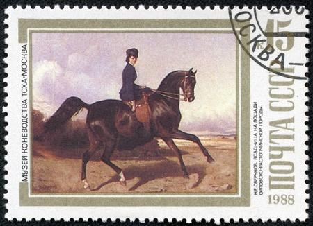 USSR - CIRCA 1988  A stamp printed in USSR shows Horsewoman Riding an Orlov-Rastopchinsky , by N E  Sverchkov, series, circa 1988 Stock Photo - 17436834