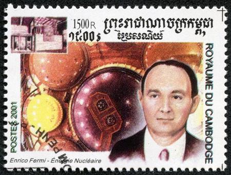 CAMBODIA - CIRCA 2001  stamp printed by Cambodia, shows Enrico Fermi ,circa 2001  Stock Photo - 17436883