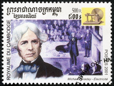 CAMBODIA - CIRCA 2001  stamp printed by Cambodia, shows image of english scientist Michael Faraday,telephone,c irca 2001  Stock Photo - 17436872