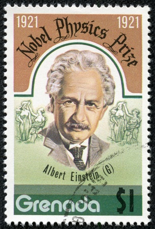 GRENADA - CIRCA 1976  A stamp printed in Grenada, shows Albert Einstein, circa 1976