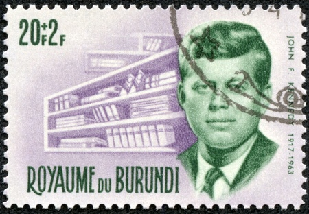 BURUNDI - CIRCA 1972  A stamp printed in Burundi shows John F  Kennedy, circa 1972 Stock Photo - 17436852