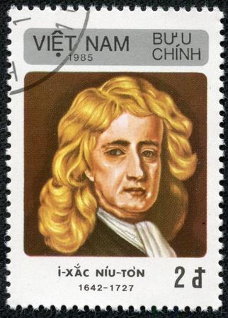 VIETNAM - CIRCA 1985  A stamp printed in Vietnam shows Isaac Newton, circa 1985