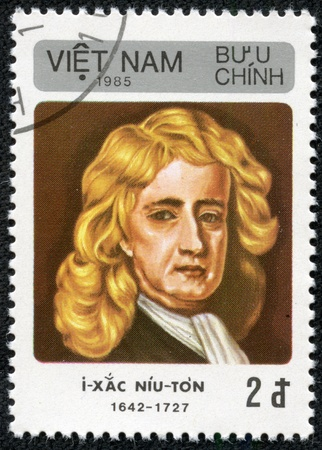 isaac newton: VIETNAM - CIRCA 1985  A stamp printed in Vietnam shows Isaac Newton, circa 1985