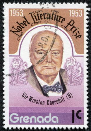 GRENADA - CIRCA 1976  A stamp printed in Grenada, shows Winston Churchill, circa 1976 Stock Photo - 17436868