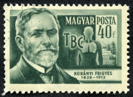 HUNGARY - CIRCA 1954  stamp printed by Hungary, shows Frigyes Koranyi, circa 1954 Stock Photo - 17436855