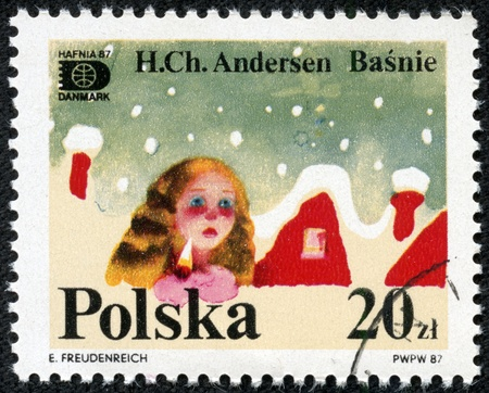 hans: POLAND - CIRCA 1987  A stamp printed in Poland dedicated to tales of Hans Christian Andersen, circa 1987