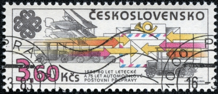 CZECHOSLOVAKIA - CIRCA 1983  A stamp printed in the Czechoslovakia, shows the different types of mail delivery  airmail, road transport, railway transport, circa 1983