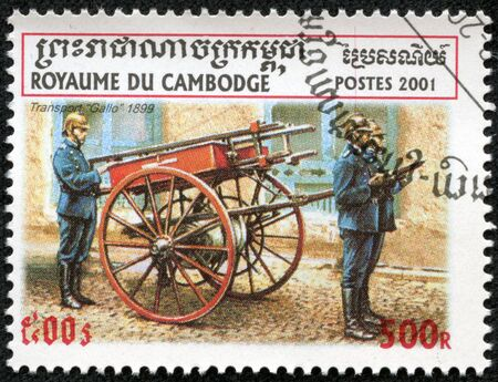 CAMBODIA - CIRCA 2001  stamp printed by Cambodia, shows retro fire truck, circa 2001